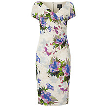 Buy Adrianna Papell Short Sleeve V-Neck Beaded Dress, Purple/Multi Online at johnlewis.com