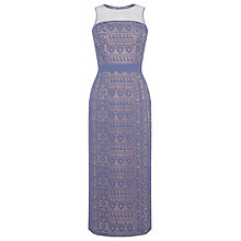 Buy Warehouse Lace Pencil Dress, Light Blue Online at johnlewis.com