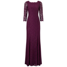Buy Adrianna Papell Long Sleeve Lace Gown, Mulberry Online at johnlewis.com