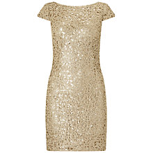 Buy Adrianna Papell Sequin Chemical Lace Shift Dress, Gold Online at johnlewis.com