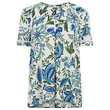 Buy Warehouse Botanical Floral Trim Top, Neutral Print Online at johnlewis.com