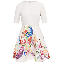 Buy Ted Baker Tapestry Flora Full Skirt Dress, Pale Yellow Online at johnlewis.com