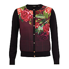 Buy Ted Baker Teeah Juxtapose Rose Print Cardigan, Black Online at johnlewis.com