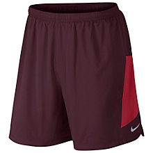 "Buy Nike Pursuit 2-in-1 7"" Flex Training Shorts, Night Maroon/Gym Red Online at johnlewis.com"