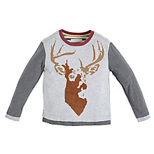 Buy Angel & Rocket Long Sleeve Stag T-Shirt, Grey Online at johnlewis.com