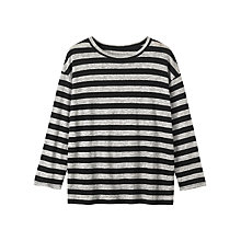 Buy Toast Stripe Linen T-Shirt, Soft Black/Grey Melange Online at johnlewis.com