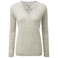 Buy Pure Collection Samara Double V-Neck Jumper, Heather Grey Fleck Online at johnlewis.com