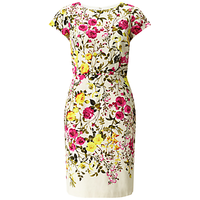 Adrianna Papell Exposed Floral Dress, Ivory/Multi