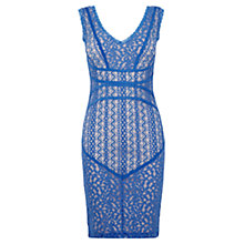 Buy Oasis Piped Lace Dress, Light Blue Online at johnlewis.com