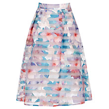 Buy Oasis Digital Organza Midi Skirt, Multi/Natural Online at johnlewis.com