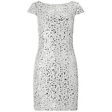 Buy Adrianna Papell Sequin Chemical Lace Shift Dress, Silver Online at johnlewis.com