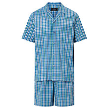 Buy John Lewis Poplin Check Short Pyjamas, Blue Online at johnlewis.com