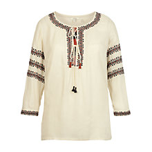 Buy Fat Face Edie Embroidered Blouse, Ivory Online at johnlewis.com