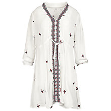 Buy Fat Face Katie Embroidered Longline Top, Ivory Online at johnlewis.com