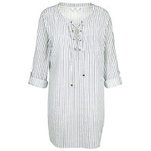 Buy Fat Face Lace Up Stripe Shirt, Ivory Online at johnlewis.com