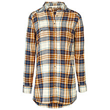 Buy Fat Face Tabitha Check Longline Shirt, Ochre Online at johnlewis.com