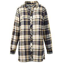 Buy Fat Face Tabitha Check Longline Shirt, Sandy Taupe Online at johnlewis.com