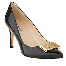 Buy L.K. Bennett Ella Bow Pointed Toe Court Shoes, Black Online at johnlewis.com