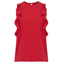 Buy Warehouse Woven Front Ruffle Top, Bright Red Online at johnlewis.com