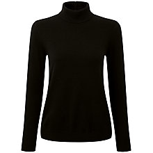 Buy Pure Collection Vivienne Cashmere Ripple Polo Sweater, Black Online at johnlewis.com