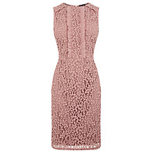 Buy Warehouse Lace Ruffle Dress, Light Pink Online at johnlewis.com
