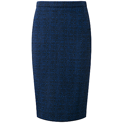 Pure Collection Adeline Wool Pencil Skirt, Blue/Black