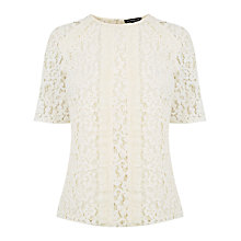 Buy Warehouse Lace Ruffle Top, Cream Online at johnlewis.com