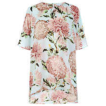 Buy Warehouse Pom Pom Print Top, Light Blue Online at johnlewis.com