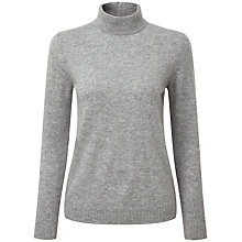 Buy Pure Collection Zoe Cashmere Ripple Polo Sweater, Heather Grey Online at johnlewis.com
