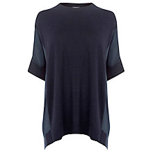 Buy Warehouse Woven Insert Boxy Jumper, Navy Online at johnlewis.com