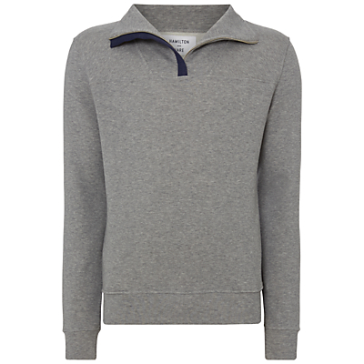 Hamilton and Hare Jersey Zip Sweatshirt, Grey