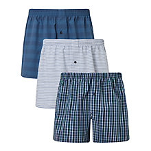 Buy John Lewis Canford Woven Cotton Boxers, Pack of 3, Blue Online at johnlewis.com