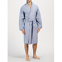 Buy John Lewis Oxford Cotton Piped Robe, Navy Online at johnlewis.com