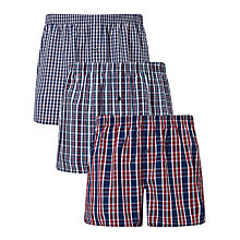 Buy John Lewis Sandbank Check Woven Cotton Boxers, Pack of 3, Red/Navy Online at johnlewis.com