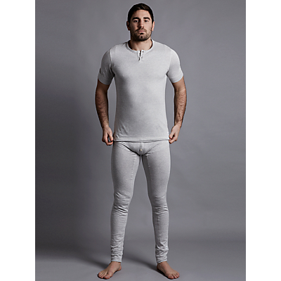 Hamilton and Hare Thermal Cotton Henley T-Shirt, Grey