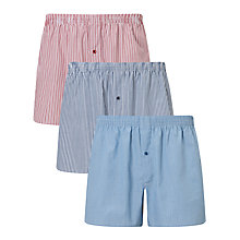 Buy John Lewis Oakley Stripe Boxers, Pack of 3, Red/Blue Online at johnlewis.com