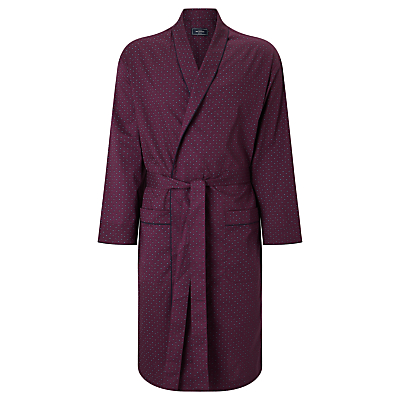 John Lewis Paisley Dot Cotton Robe, Burgundy