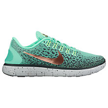 Buy Nike Free RN Distance Shield Women's Running Shoes, Green Glow/Metallic Red Bronze Online at johnlewis.com