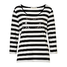 Buy Betty Barclay Stripe Top With Sequins, Black/Cream Online at johnlewis.com