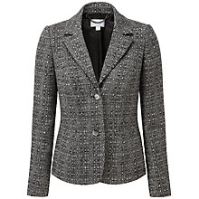 Buy Pure Collection Sarah Textured Wool Blazer, Black/White Texture Online at johnlewis.com