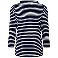 Buy Pure Collection Darwin Button Shoulder Top, Navy/Soft White Online at johnlewis.com