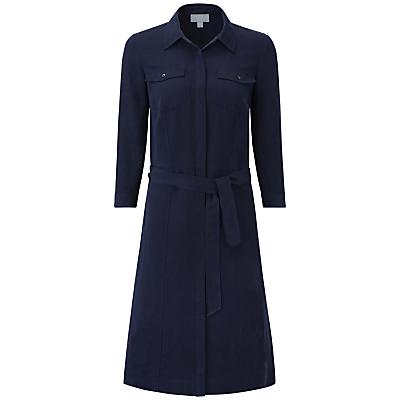 Pure Collection Maia Silk Linen Dress, Navy