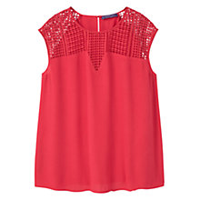 Buy Violeta by Mango Openwork Panel Blouse, Dark Red Online at johnlewis.com
