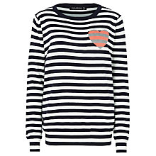 Buy Sugarhill Boutique Lena Stripe Love Jumper, Navy/White Online at johnlewis.com