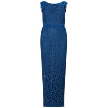 Buy Adrianna Papell Plus Size Sleeveless Jersey And Lace Gown, Deep Blue Online at johnlewis.com
