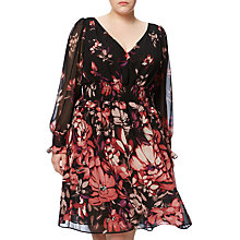 Buy Adrianna Papell Plus Size Printed Chiffon Dress, Black/Multi Online at johnlewis.com