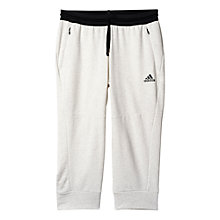 Buy Adidas Cotton Fleece 3/4 Bottoms, Pepper White Online at johnlewis.com