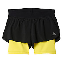 Buy Adidas 2 in 1 Gym Shorts, Black/Yellow Online at johnlewis.com