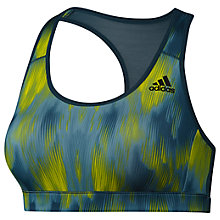 Buy Adidas Racer Back Printed Sports Bra, Utility Green Online at johnlewis.com