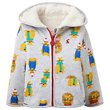 Buy Baby Joule James Lion Reversible Hoodie, Grey Marl Online at johnlewis.com